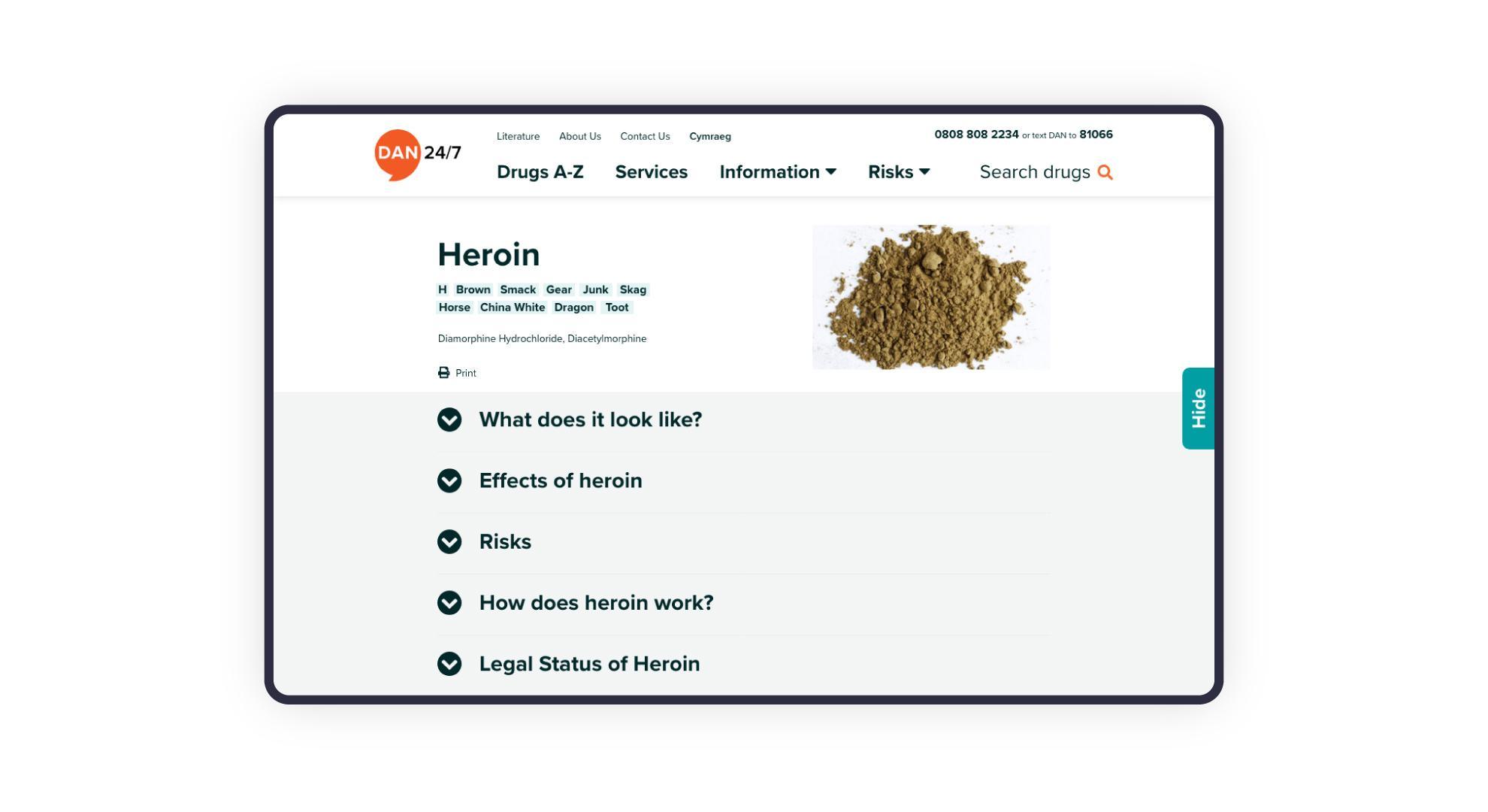 Website design for DAN 247 drugs helpline