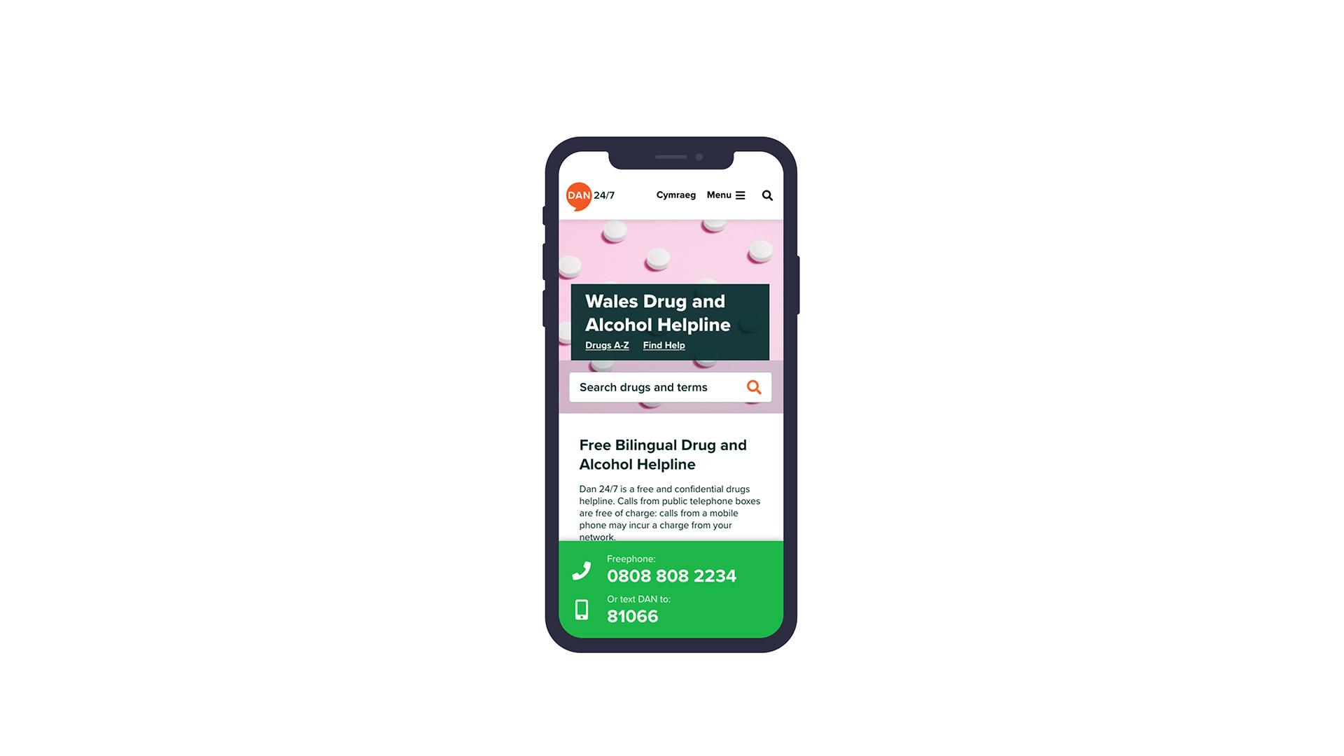 DAN 24/7 website homepage on mobile