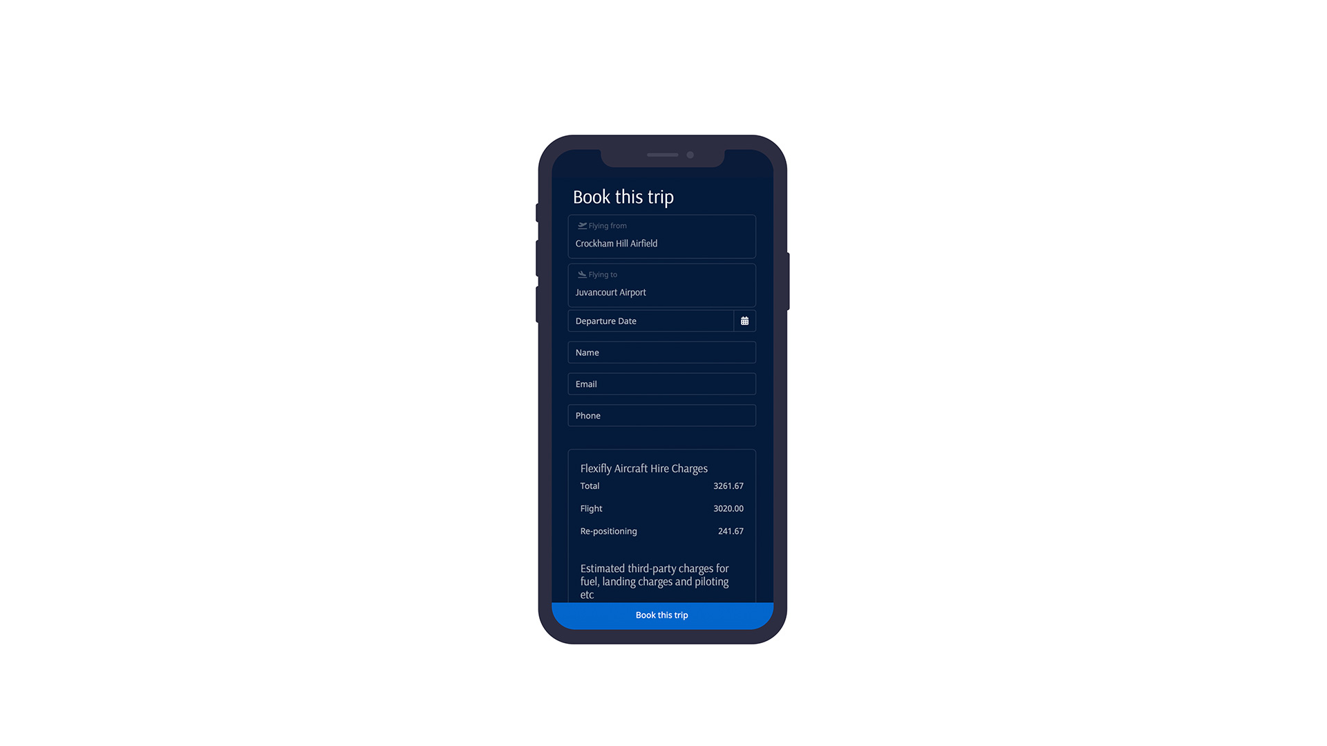 Mobile flight booking system