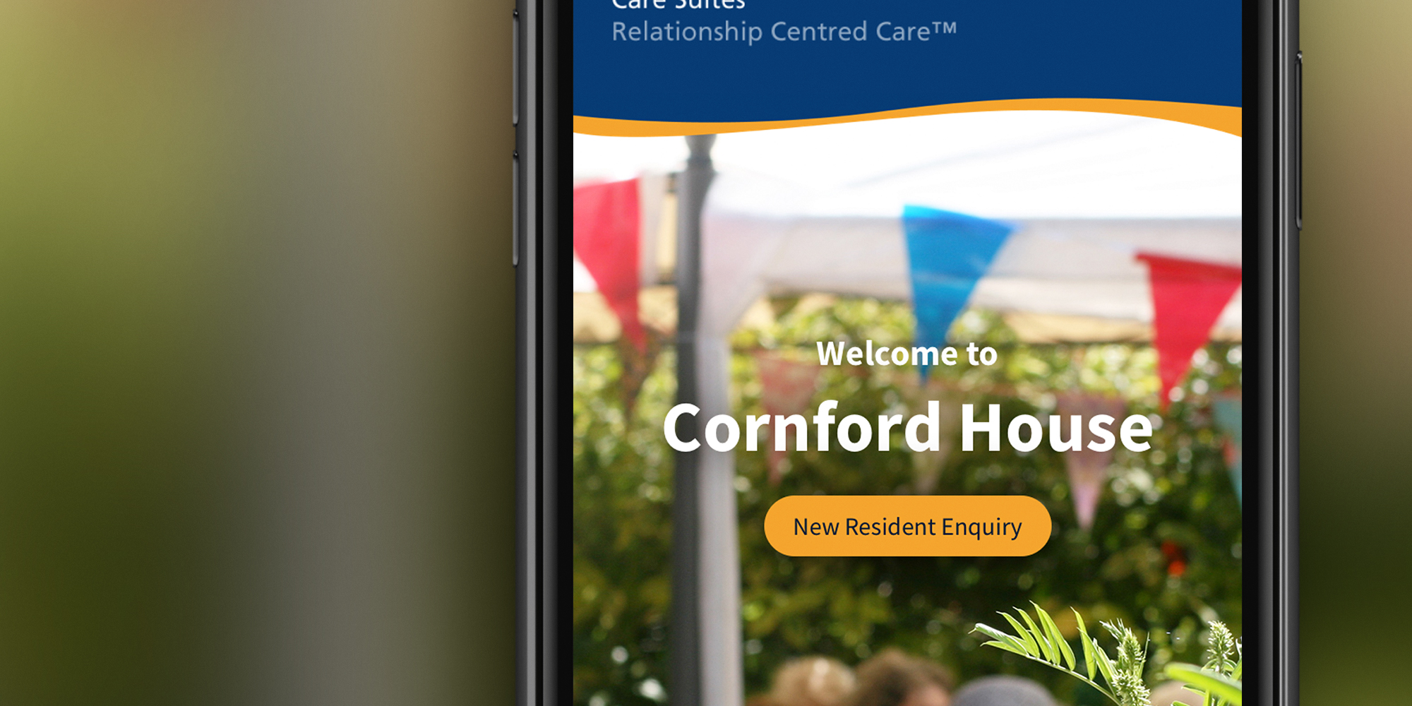 Care home website on mobile